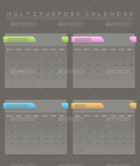 Multipurpose PSD Calendar - Miscellaneous Graphics