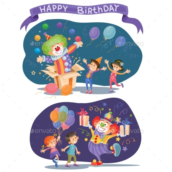Birthday Background with Happy Kids and Clown - Birthdays Seasons/Holidays