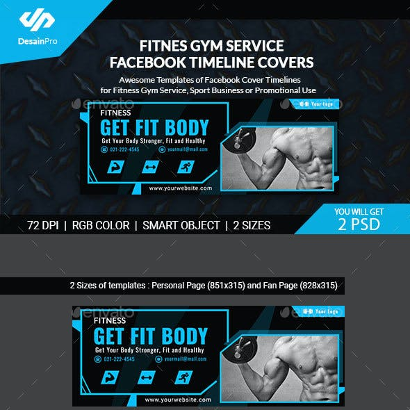 Fitness and Gym FB Timeline Covers - AR