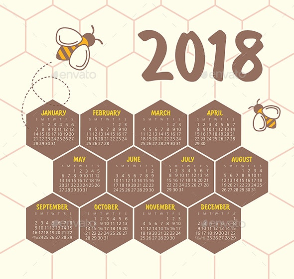 Calendar 2018 year. Week starts from Sunday - Valentines Seasons/Holidays