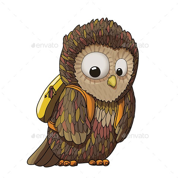 Young Surprised Owl Character Wearing Backpack