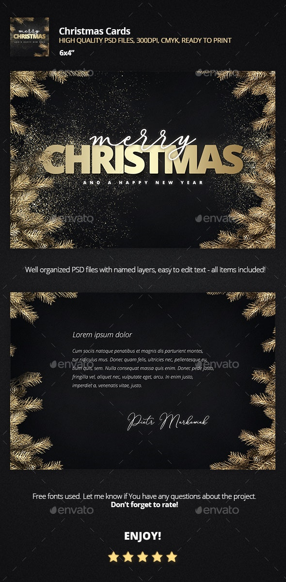 Golden Christmas Card - Holiday Greeting Cards