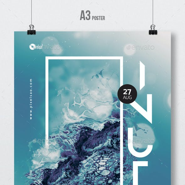 Inuti - Abstract Party Flyer / Poster Artwork Template A3