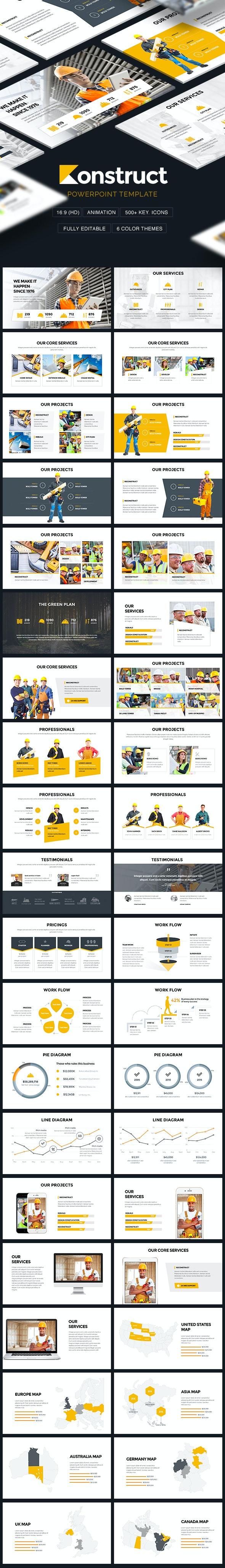 Konstruct - Construction Theme Powerpoint Template - PowerPoint Templates Presentation Templates