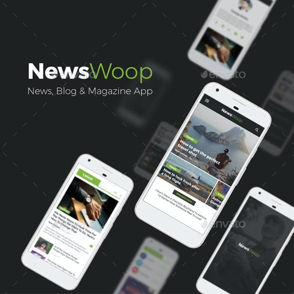 News, Magazines, Blogs Android + iOS App UI | NewsWoop