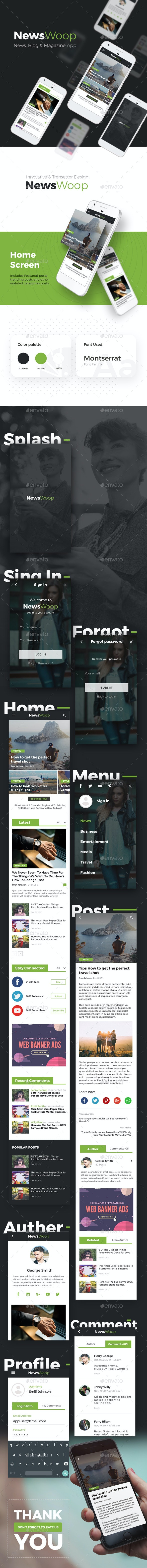 News, Magazines, Blogs Android + iOS App UI | NewsWoop - User Interfaces Web Elements