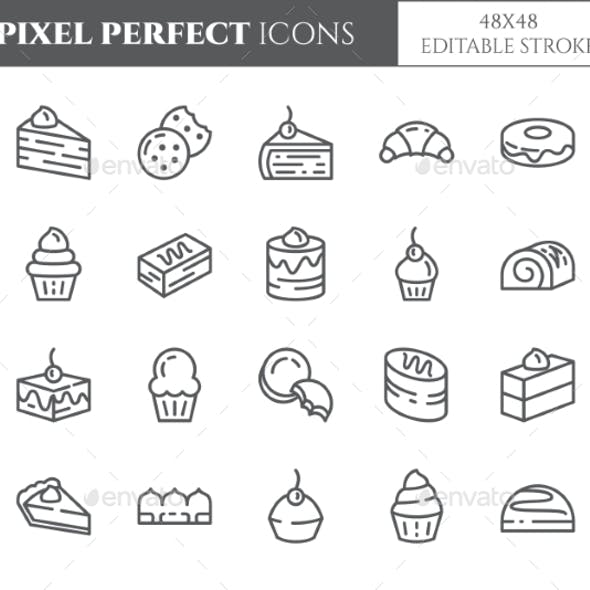 Cakes and Cookies Theme Pixel Perfect Line Icons