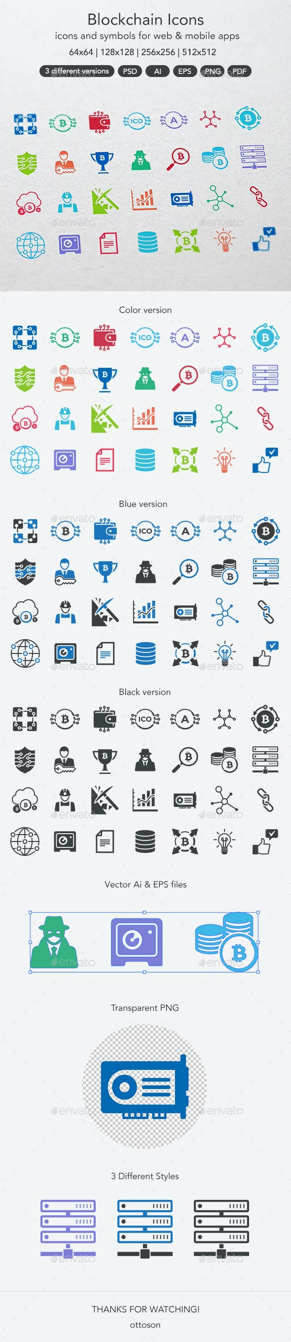 Blockchain Icons - Technology Icons