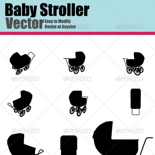 Vector Baby Stroller Silhouette Set