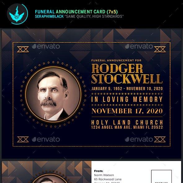 Art Deco Funeral Announcement Card Template