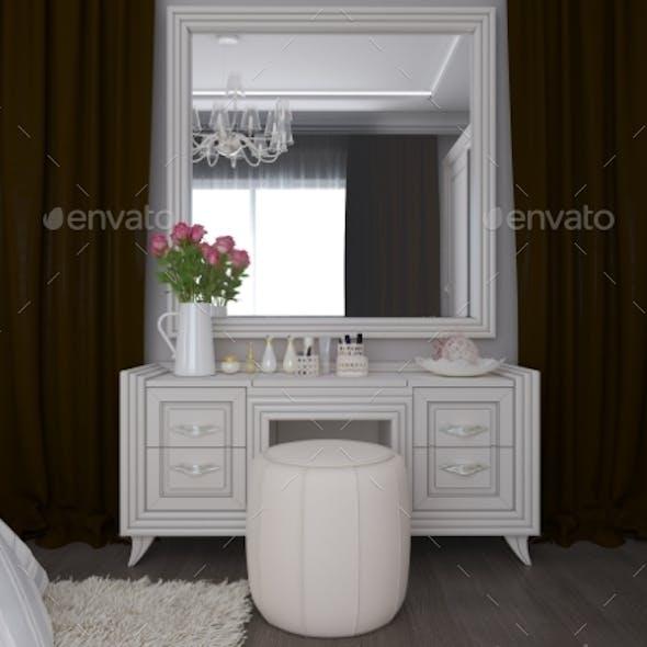 3D Illustration of a White Bedroom Interior Design