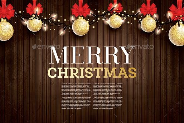 Christmas Greeting Card with Golden Glitter Christmas Ball - Christmas Seasons/Holidays
