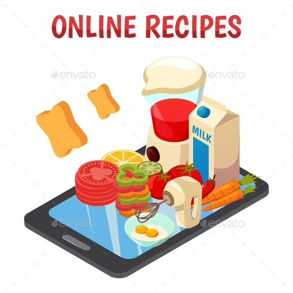 Online Culinary Recipes Isometric Composition