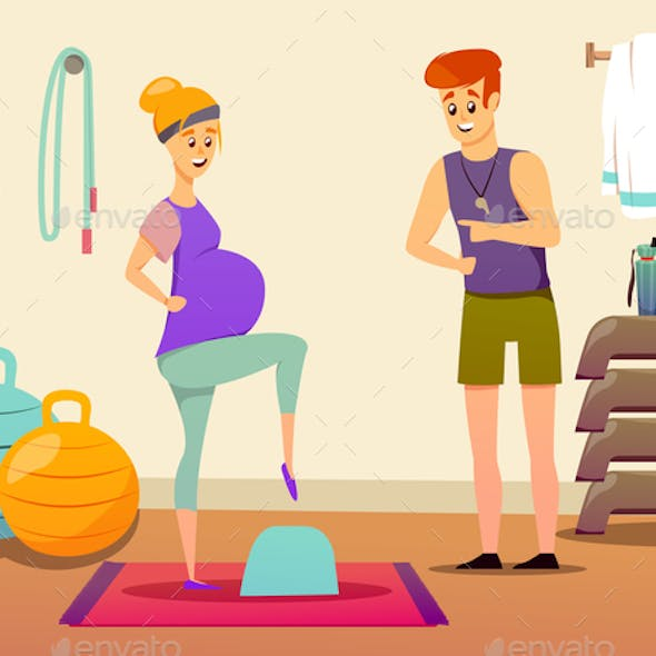 Pregnant Woman Sport Instructor Composition