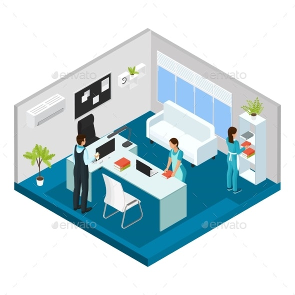 Isometric Professional Cleaning Service Concept - People Characters