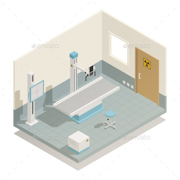 Hospital Medical Equipment Isometric Composition