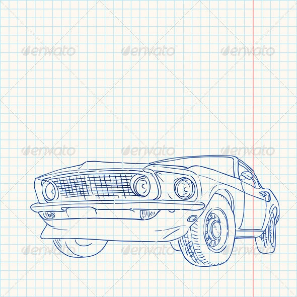 Muscle Car Illustration - Travel Conceptual