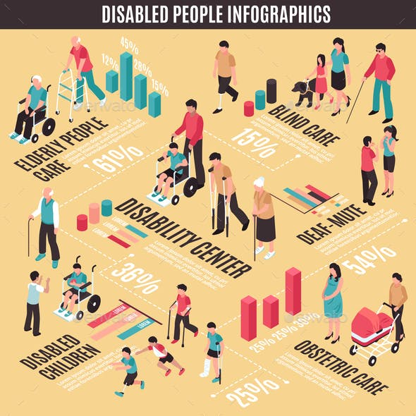 Disabled People Isometric Infographics