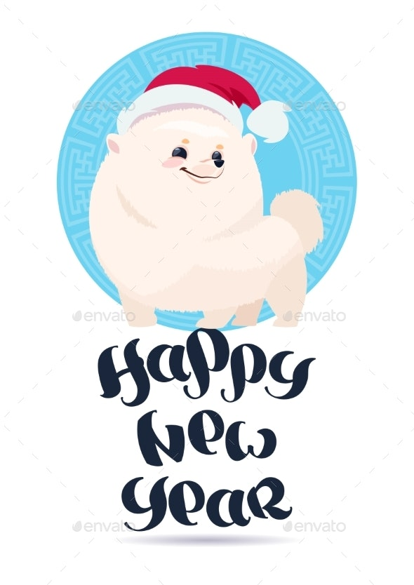 White Pomeranian Dog in Santa Hat on Happy New Year - Animals Characters