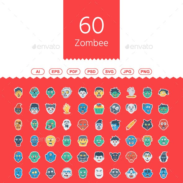 60 Halloween Zombee Flat Sticker