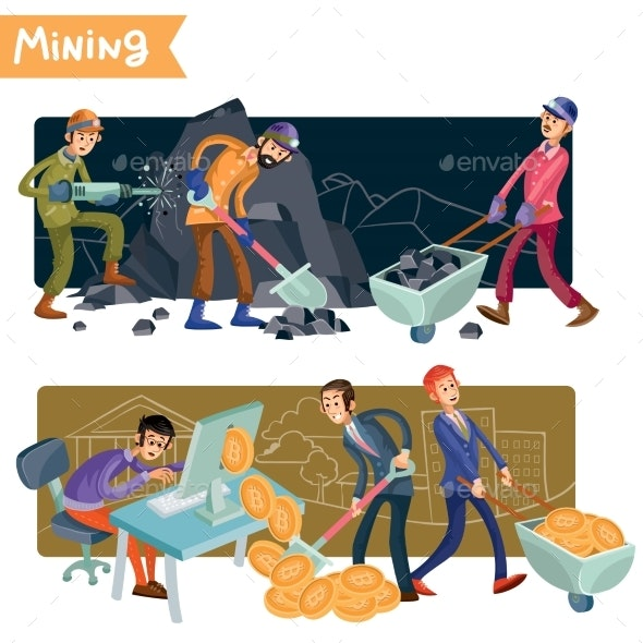 Bitcoin Mining Concept Vector Illustration - Computers Technology