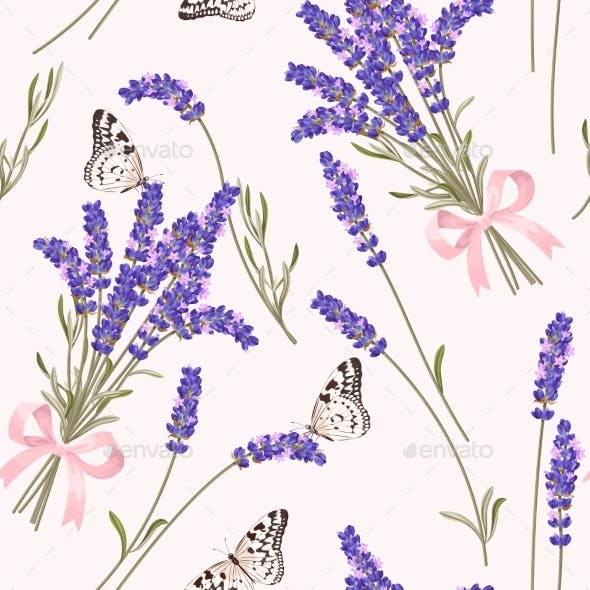 Lavender Flowers Seamless Pattern