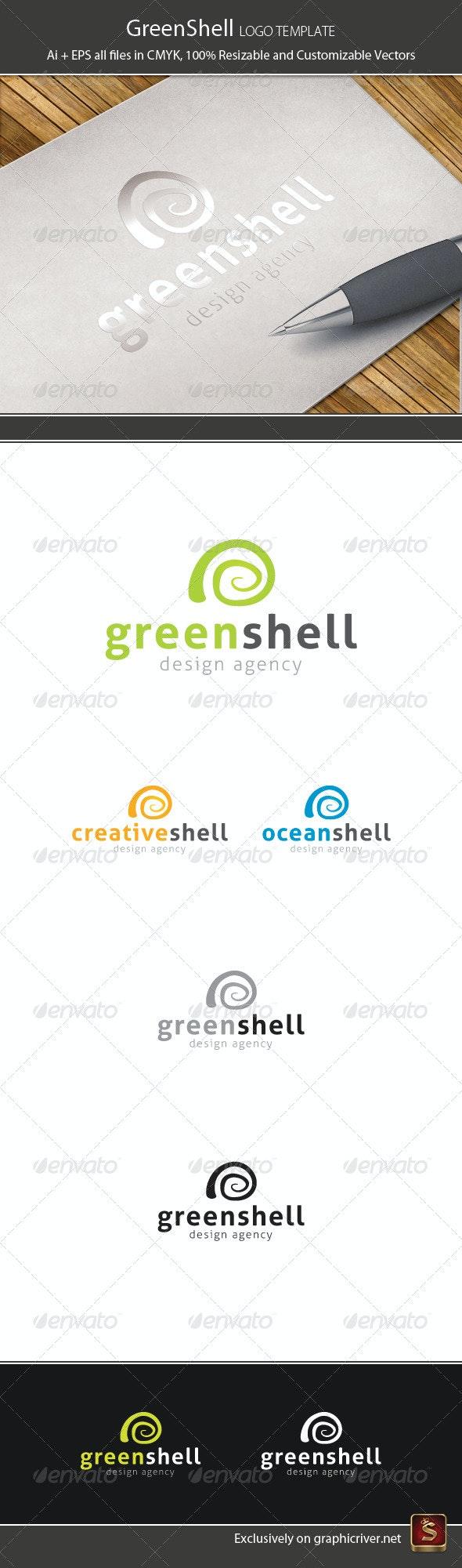 Green Shell Logo Template - Vector Abstract