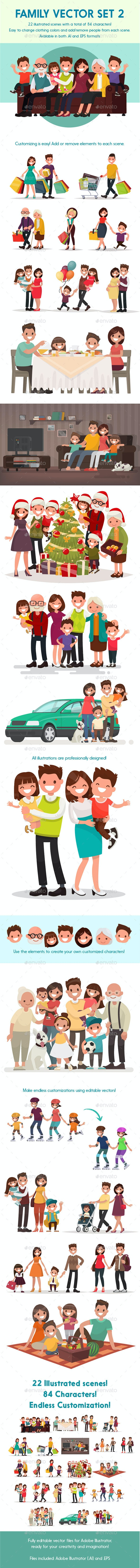 Vector Family 2 Illustration Pack - People Characters