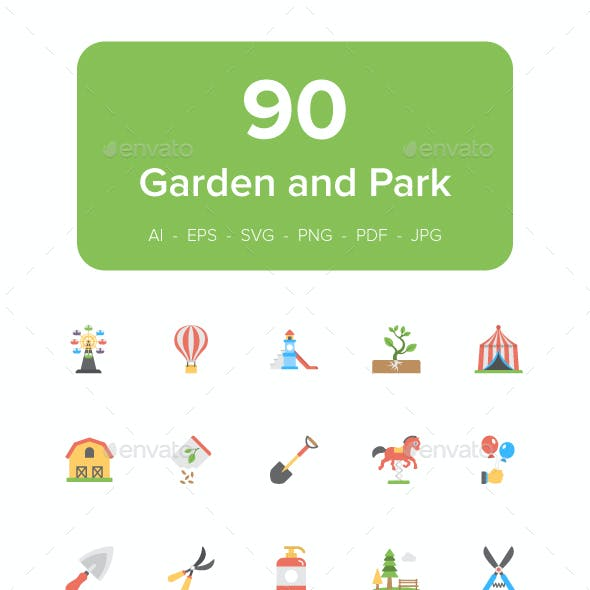 90 Garden and Park Flat Icon Set