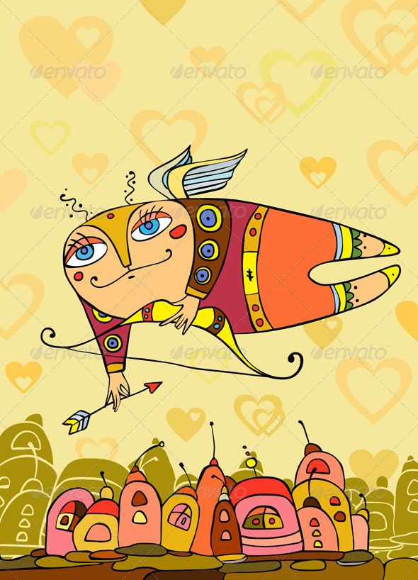 Cupid Flies over a City with a Arrow - Valentines Seasons/Holidays