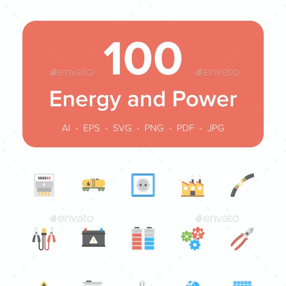 100 Energy and Power Flat Icons