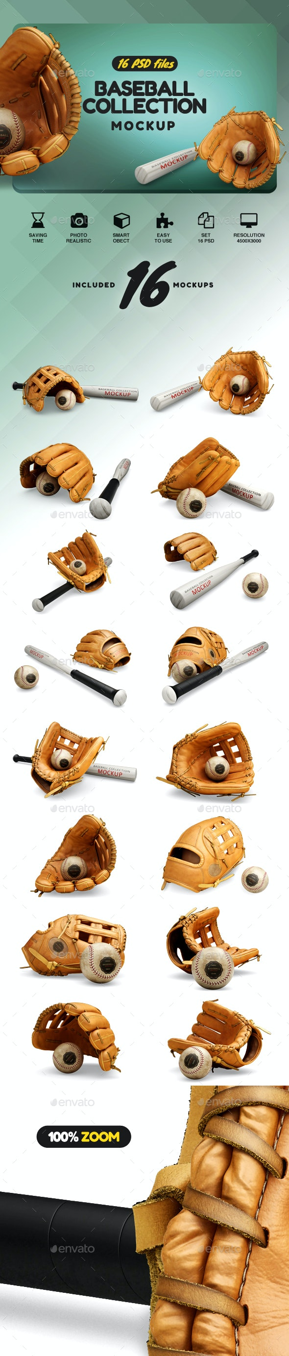 Baseball Set Collection Mockup - Product Mock-Ups Graphics
