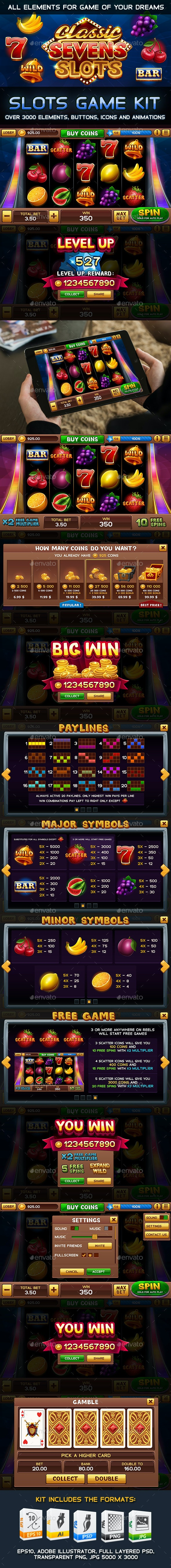 Classic Sevens Slots Game Kit - Game Kits Game Assets