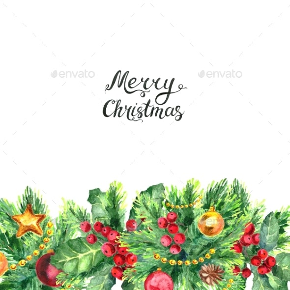 Christmas Border and Lettreing Isolated on White