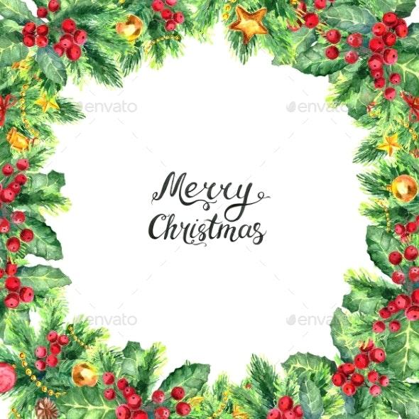 Christmas Border Isolated on White Background