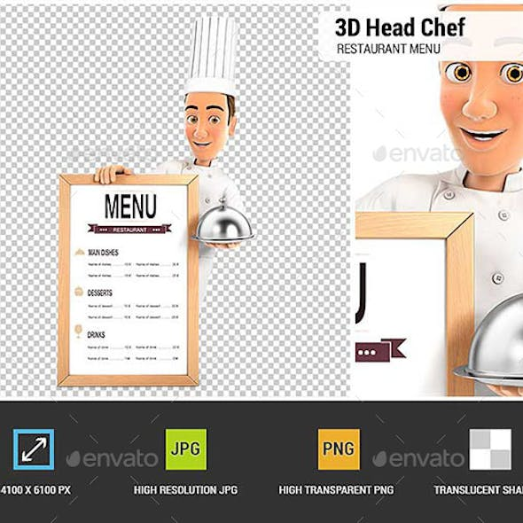 3D Head Chef with the Restaurant Menu