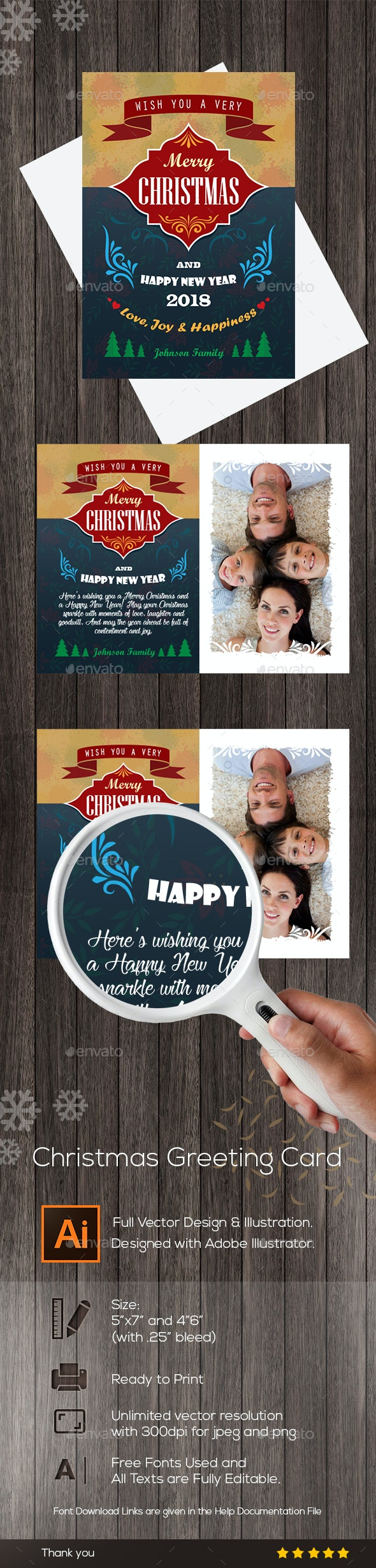 Christmas Greeting Card Vector Design - Holiday Greeting Cards