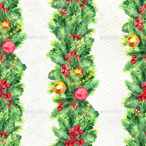Merry Christmas Seamless Pattern with Garlands