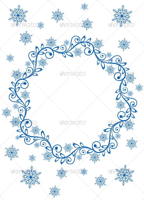 Snow frame and snowflakes - Decorative Vectors