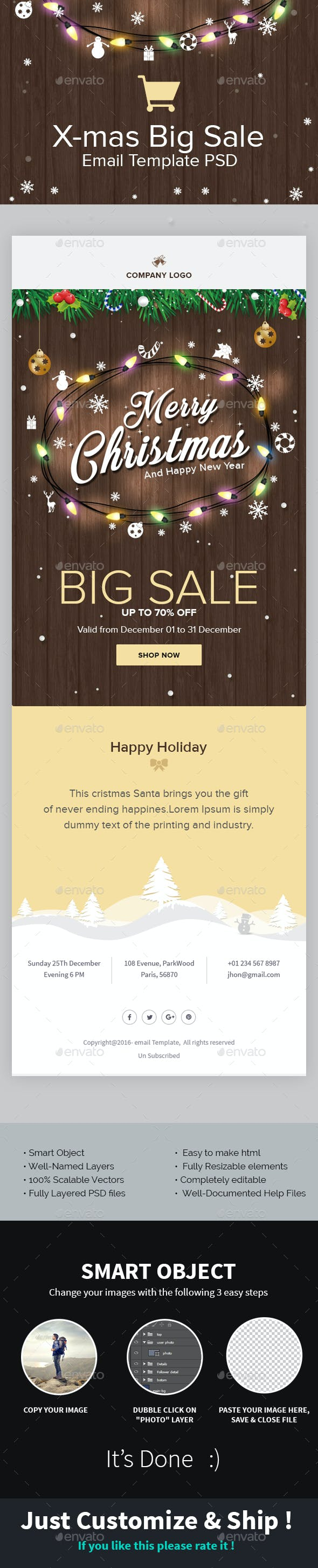X-mas Offer - Christmas Shopping Offer Email Template PSD