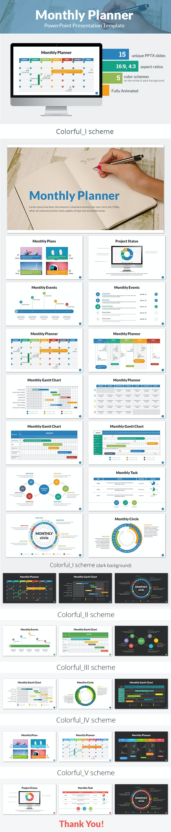 Monthly Planner PowerPoint Presentation Template - Business PowerPoint Templates