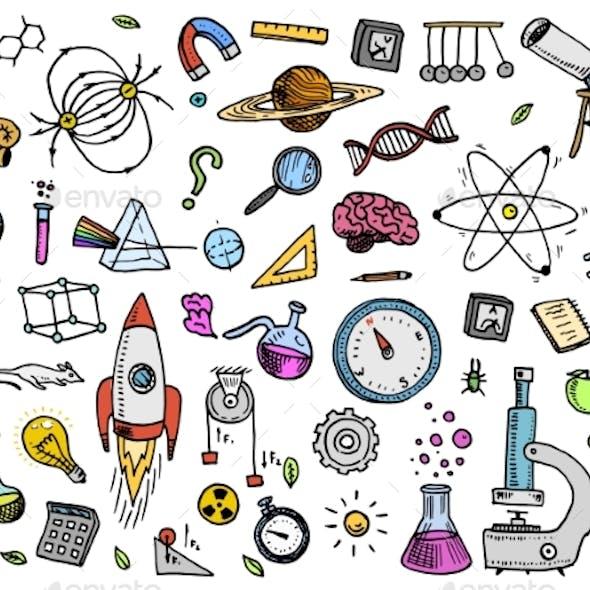Engraved Hand Drawn Science Symbols