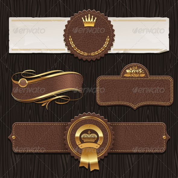 Set of Leather & Golden Framed Labels