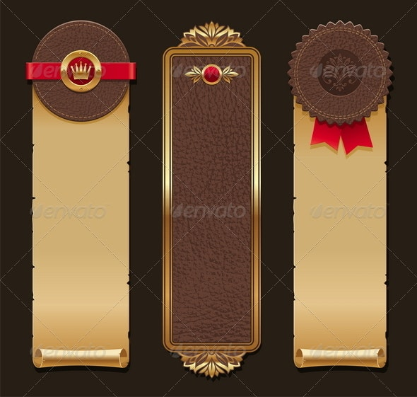 Set of Leather And Paper Vintage Banners - Decorative Vectors