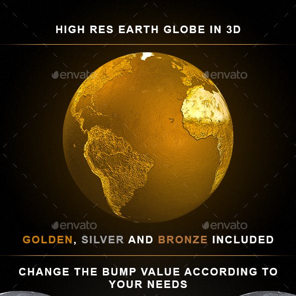 3D Earth Globes : Gold, Silver & Bronze with Animated GIF's