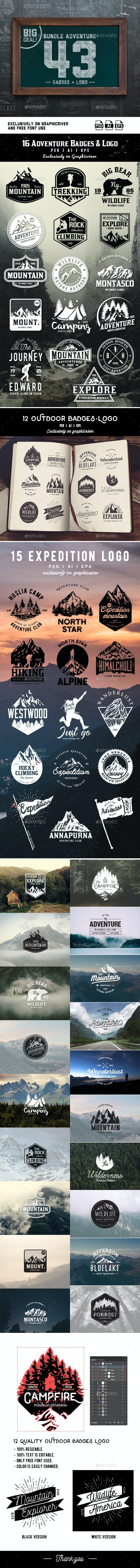 Bundle Adventure 43 Badges & Logo - Badges & Stickers Web Elements