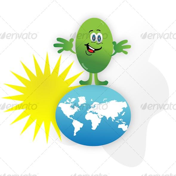 Cartoon green earth and sun energy