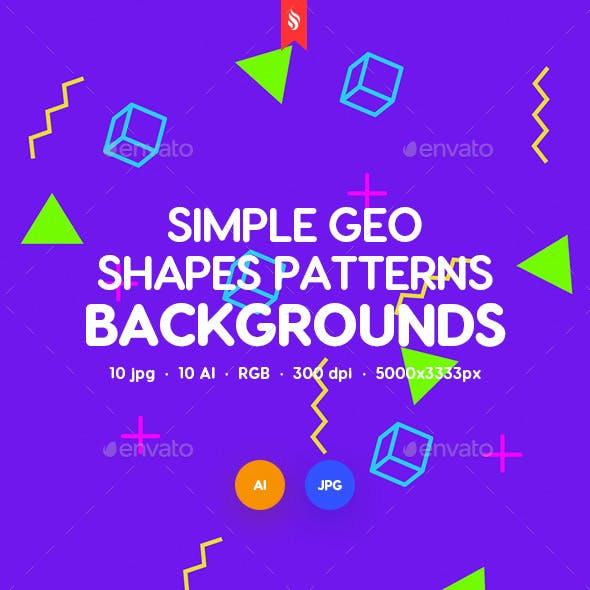 Simple Vector Geometric Shapes Patterns Backgrounds