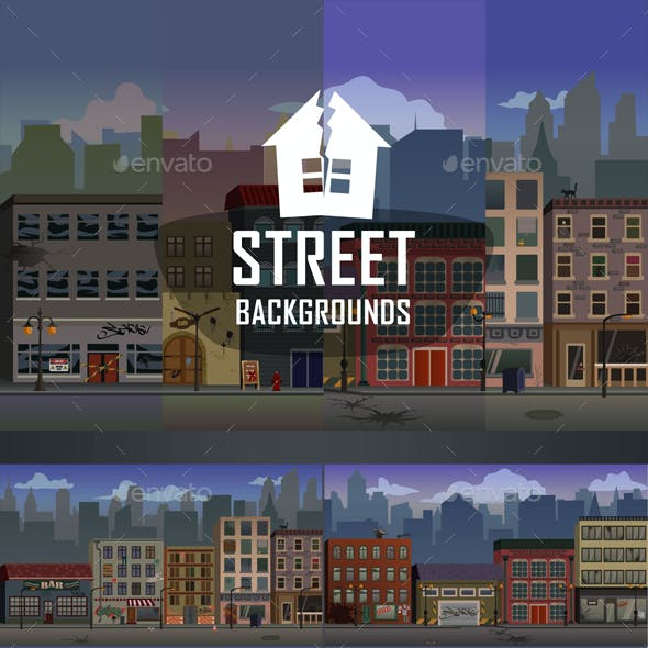 Parallax Street 2D Backgrounds