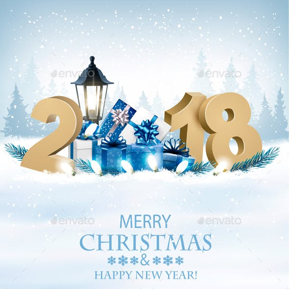 Happy New Year 2018 Background with Presents
